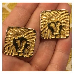 Large ANNE KLEIN Logo Gold Square Earrings
